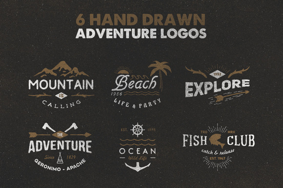 6 Hand Drawn Adventure Logos
