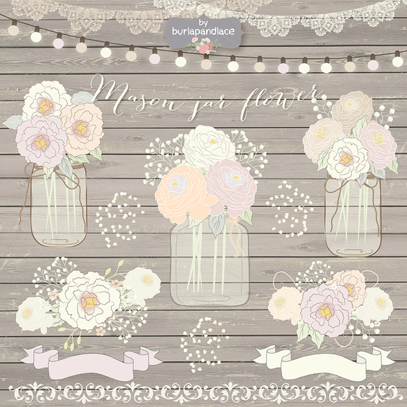 Vector Masson Jar Wedding