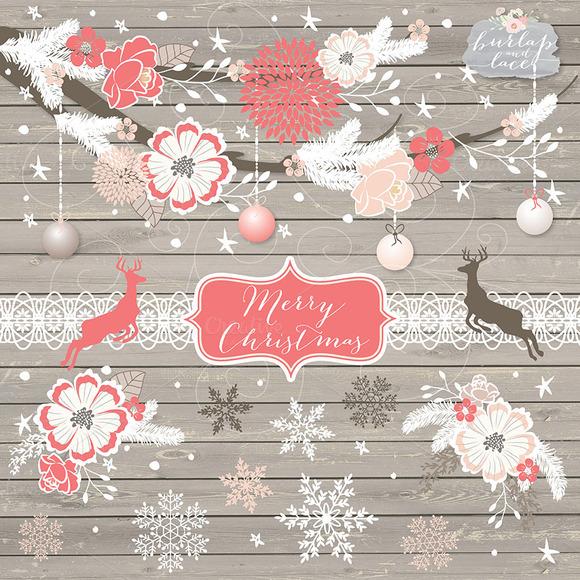 Christmas Deer Flower Cliparts