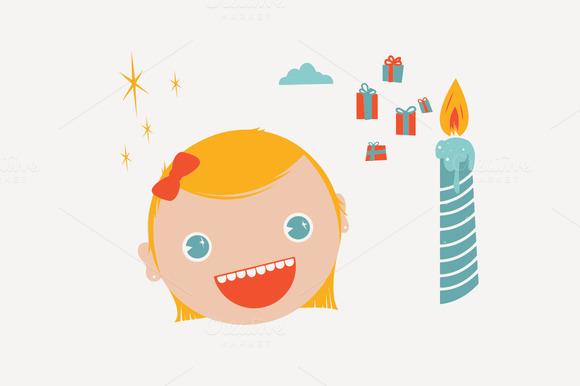Retro Kid S Birthday Elements