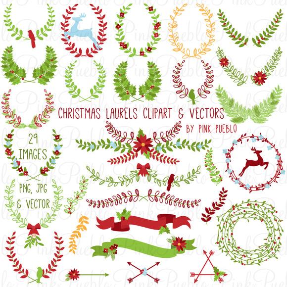 Christmas Laurels Clipart Vectors