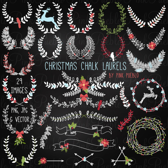Christmas Chalkboard Laurels Wreaths