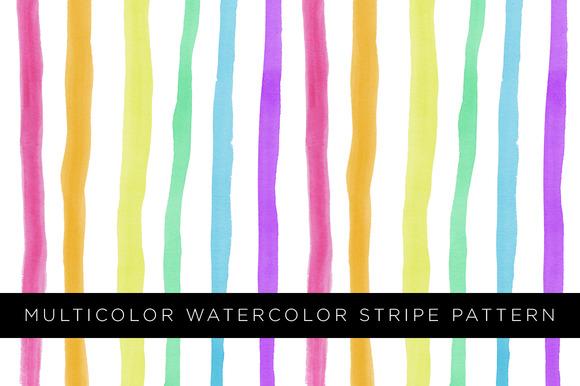 Multicolor Watercolor Stripe Pattern