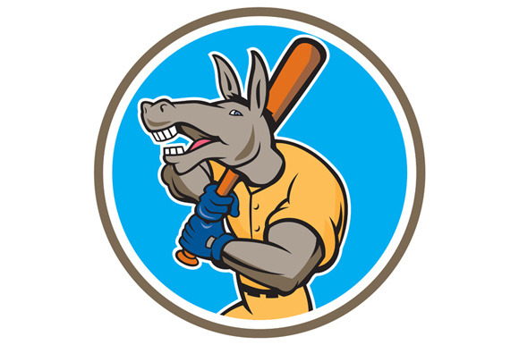 Donkey Baseball Player Batting Circl