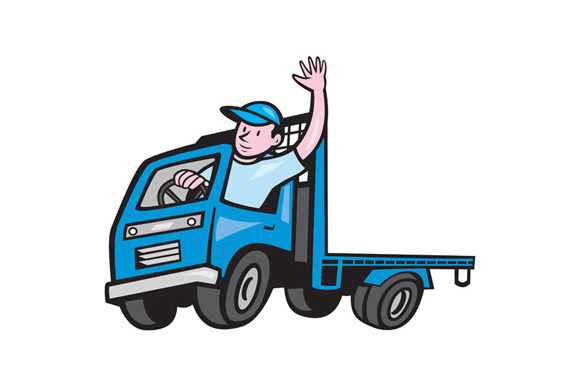 Flatbed Truck Driver Waving Cartoon