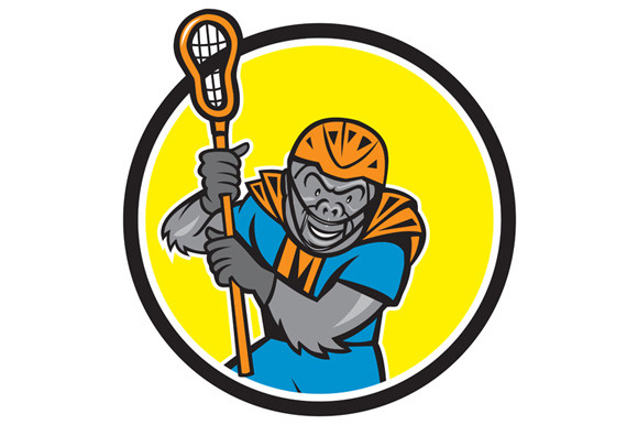 Gorilla Lacrosse Player Circle Carto