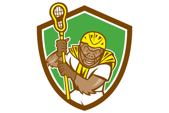 Gorilla Lacrosse Player Shield Carto