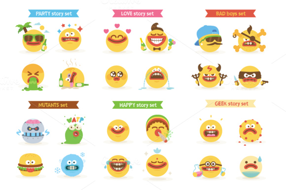 Cartoon Freaky Smiley Emoticons Pack