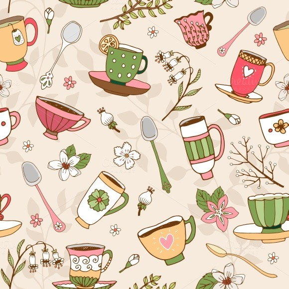 Seamless Background Of Tea Cups