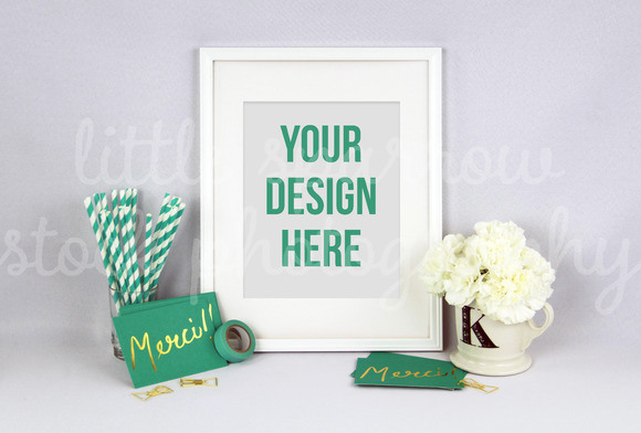 Teal White Picture Frame Mock Up