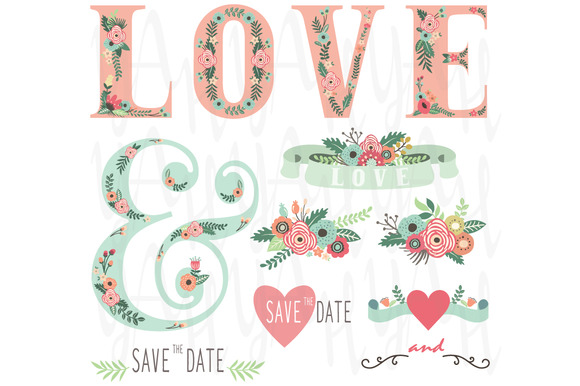 Wedding Flower LOVE Clip Art