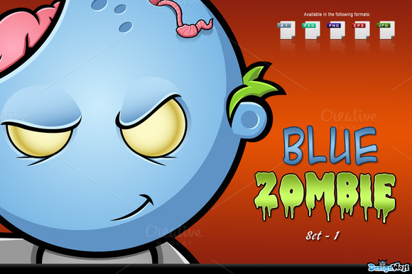 Blue Zombie Character Set 1