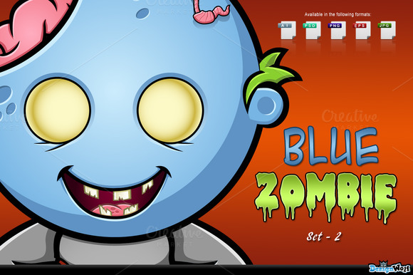 Blue Zombie Character Set 2
