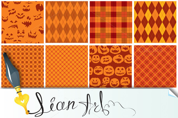 Set Of 9 Halloween Plaid Seamless