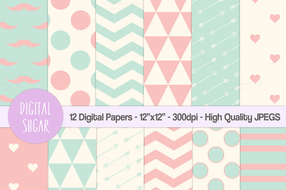 Pink Green Digital Papers Hipster