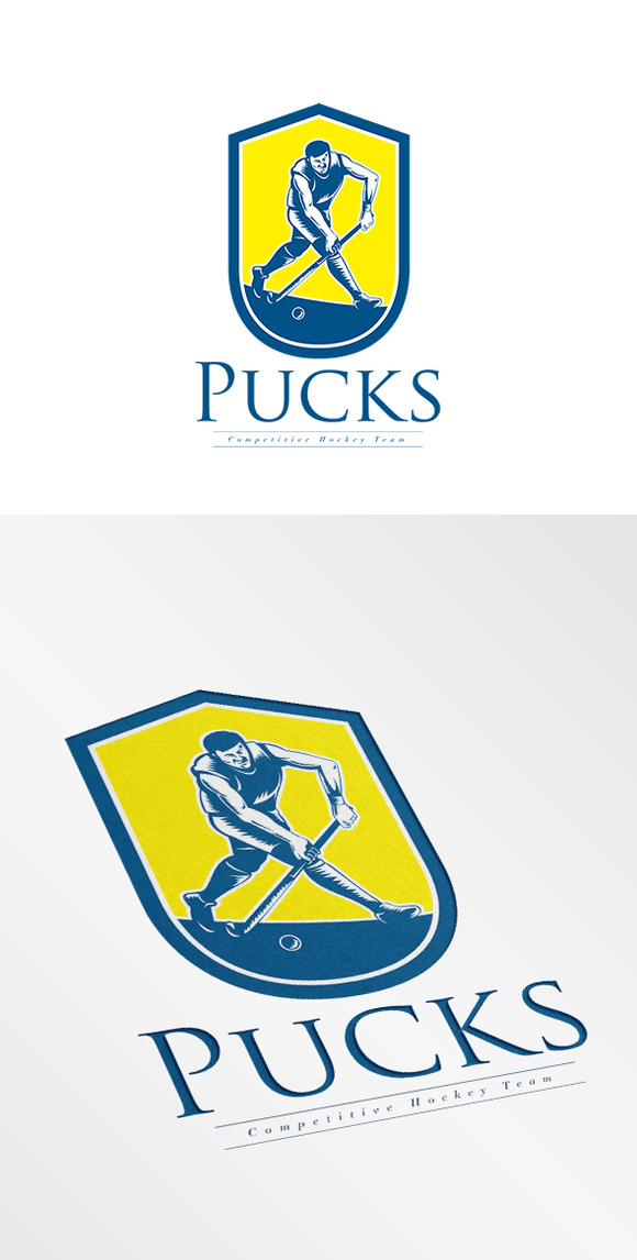 Pucks Hockey Team Logo