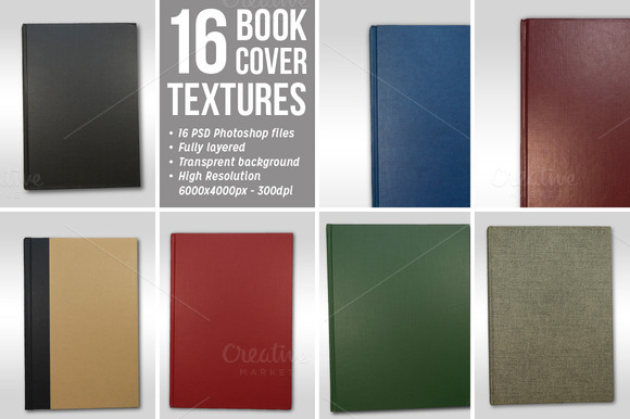 16 Book Cover Textures Isolated