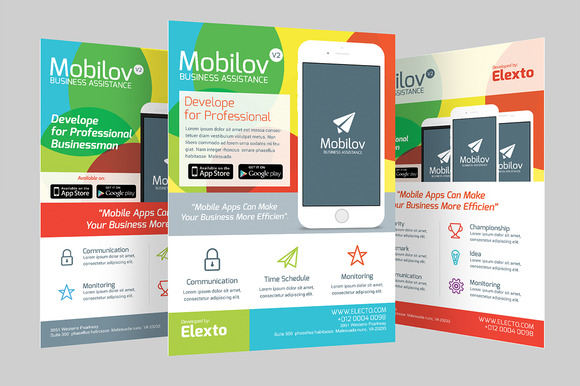 Colourful Mobile App Flyer