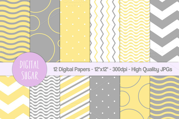 Yellow Gray Digital Paper Pack