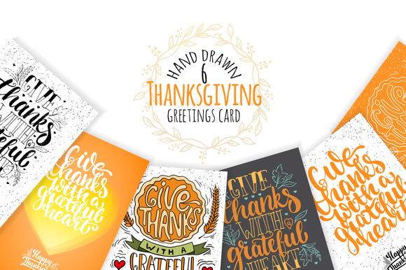 6 Hand Drawn Thanksgiving Card