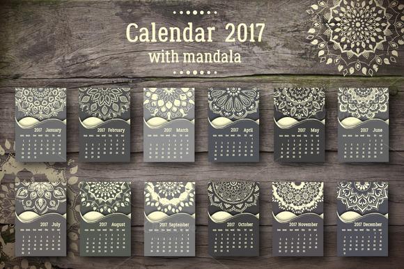 Calendar 2017 With Mandala