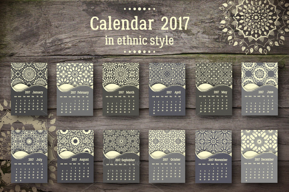 Calendar 2017 In Ethnic Style