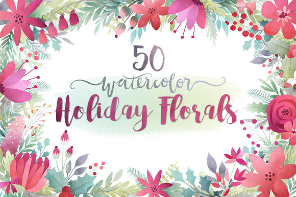 Watercolor Holiday Florals