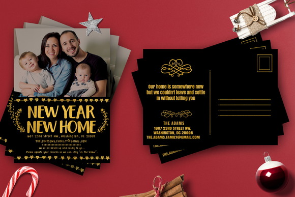 Gold Foil Moving Cards Template