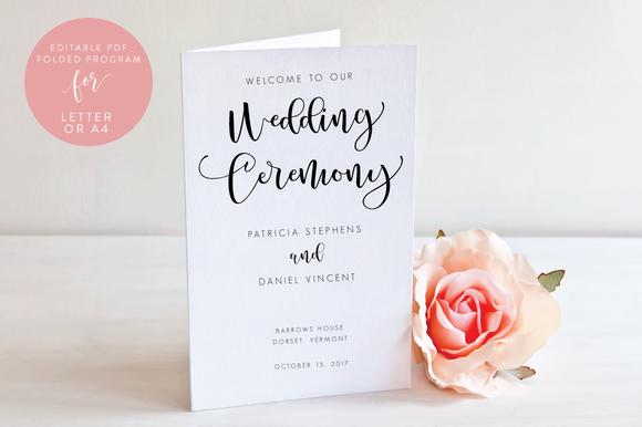 Wedding Folded Program Editable PDF