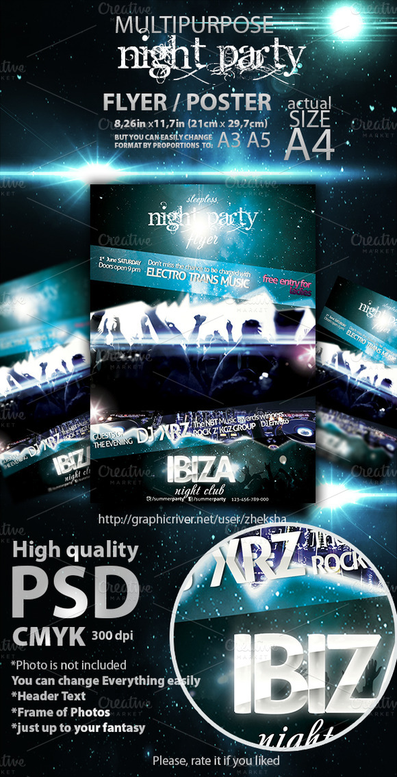 Sleepless Night Party Flyer