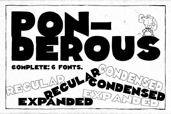 Ponderous Complete 6 Fonts