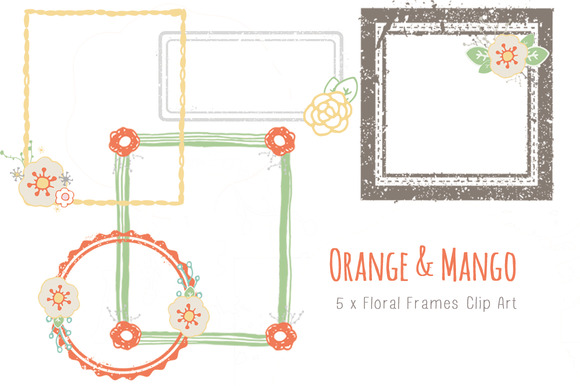 Orange Mango Floral Frames