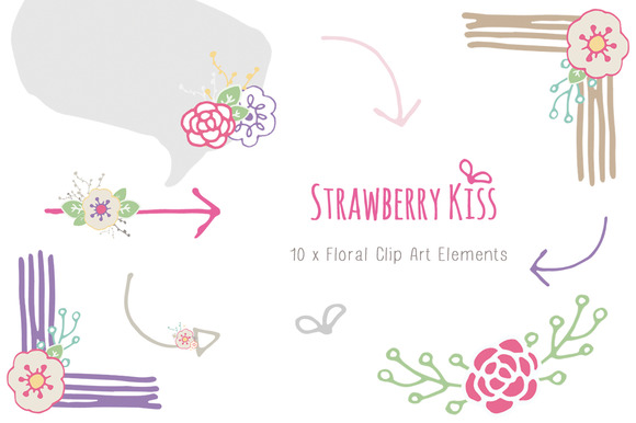 Hand Drawn Floral Clip Art Elements
