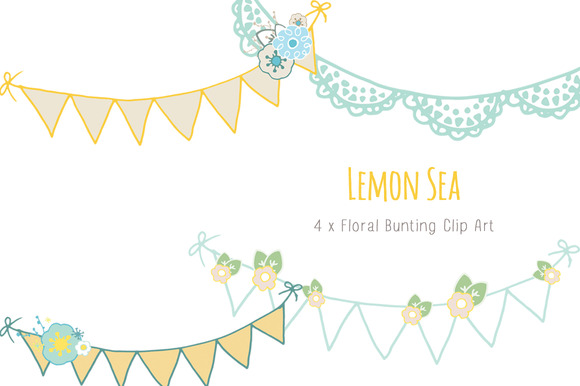 Lemon Sea Floral Bunting