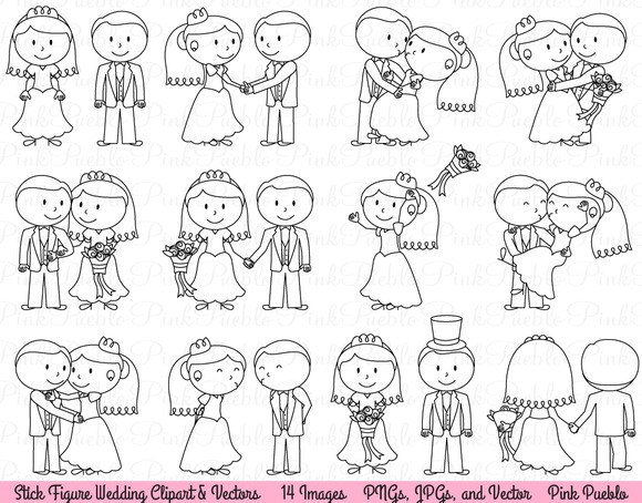 Wedding Stick Figure Clipart Vector