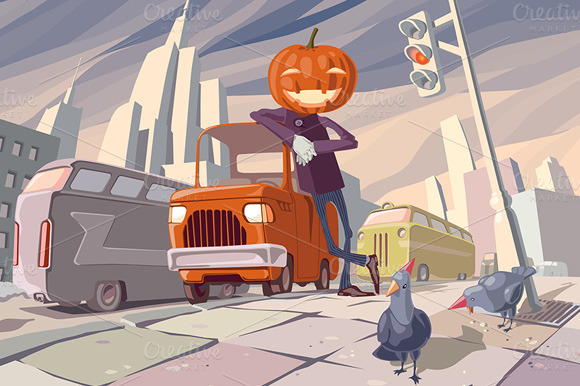 Jack O Lantern And His Orange Car
