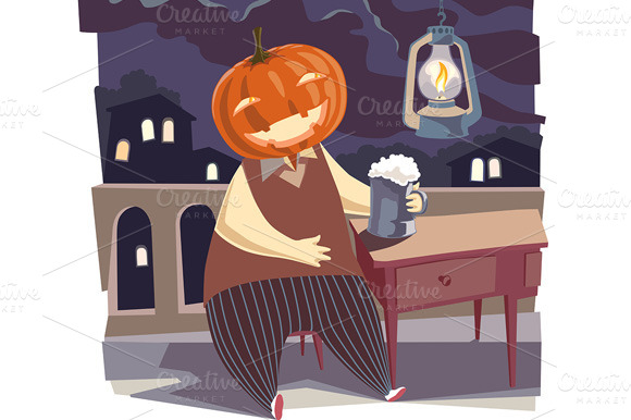 Jack O Lantern With A Pint Of Beer