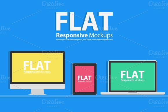 Flat Responsive Web Mockups