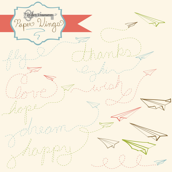 Paper Airplane Clipart Set