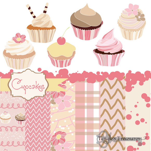Cupcakes Digital Clipart And Paper