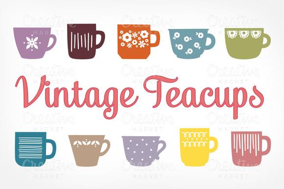 Vintage Teacups Illustrations