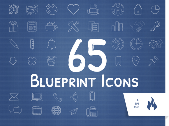 65 Blueprint Sketched Icon Set