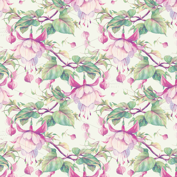 Seamless Pattern With Fuchsia Flower