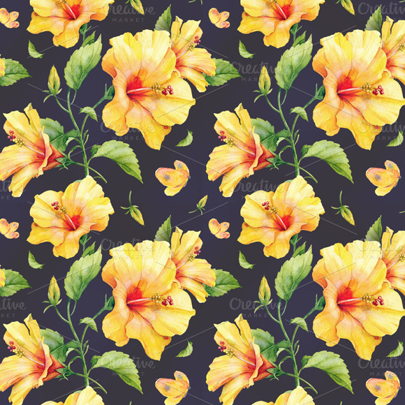 Seamless Pattern With Hibiscus