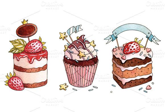 Watercolor Desserts