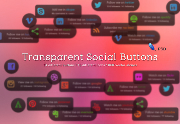84 Transparent Social Buttons