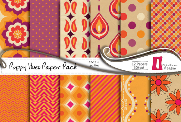 Poppy Hues Digital Paper Pack