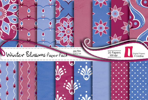 Winter Blossoms Digital Paper Pack