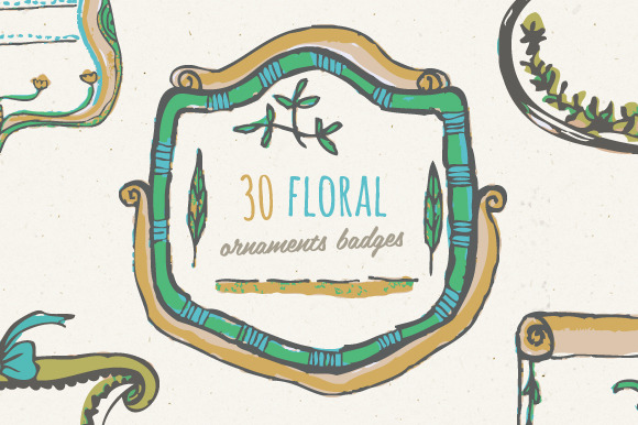 Floral Ornaments Badges