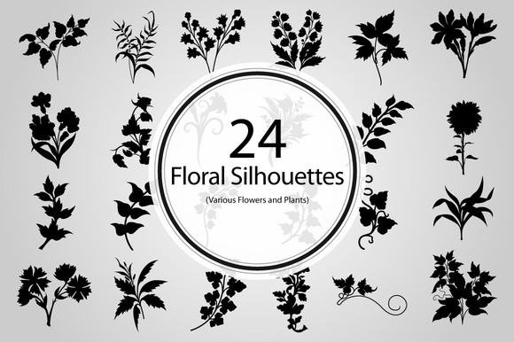 24 Floral Silhouettes